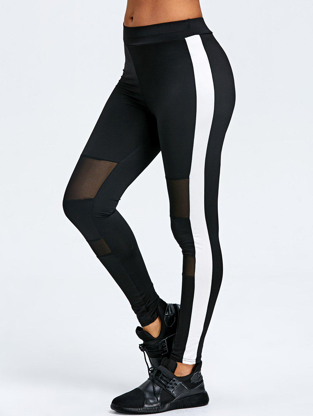 Mesh Trim Two Tone Sports Leggings - BLACK L