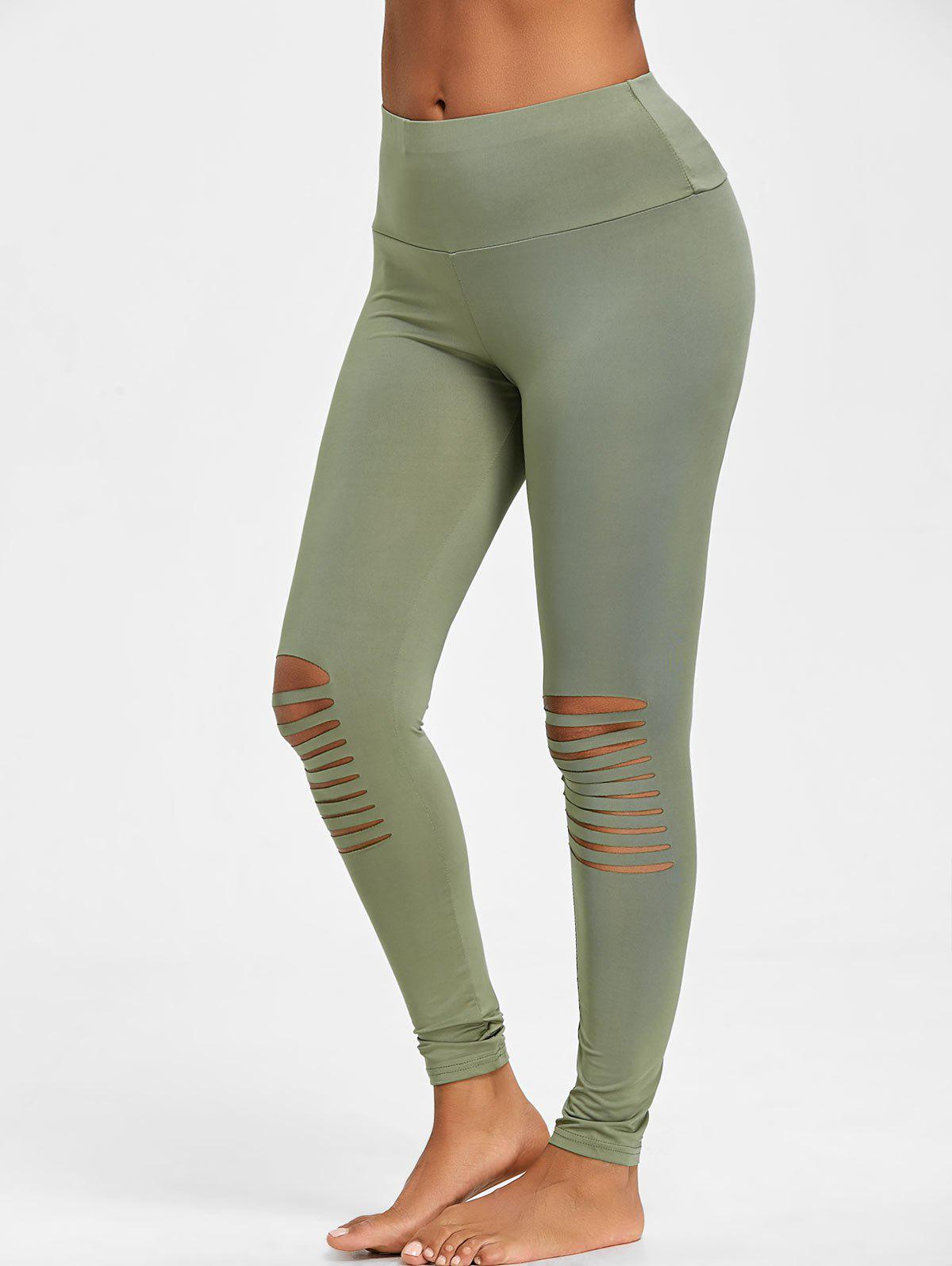 Skinny High Waist Knee Ripped Leggings - GREEN XL