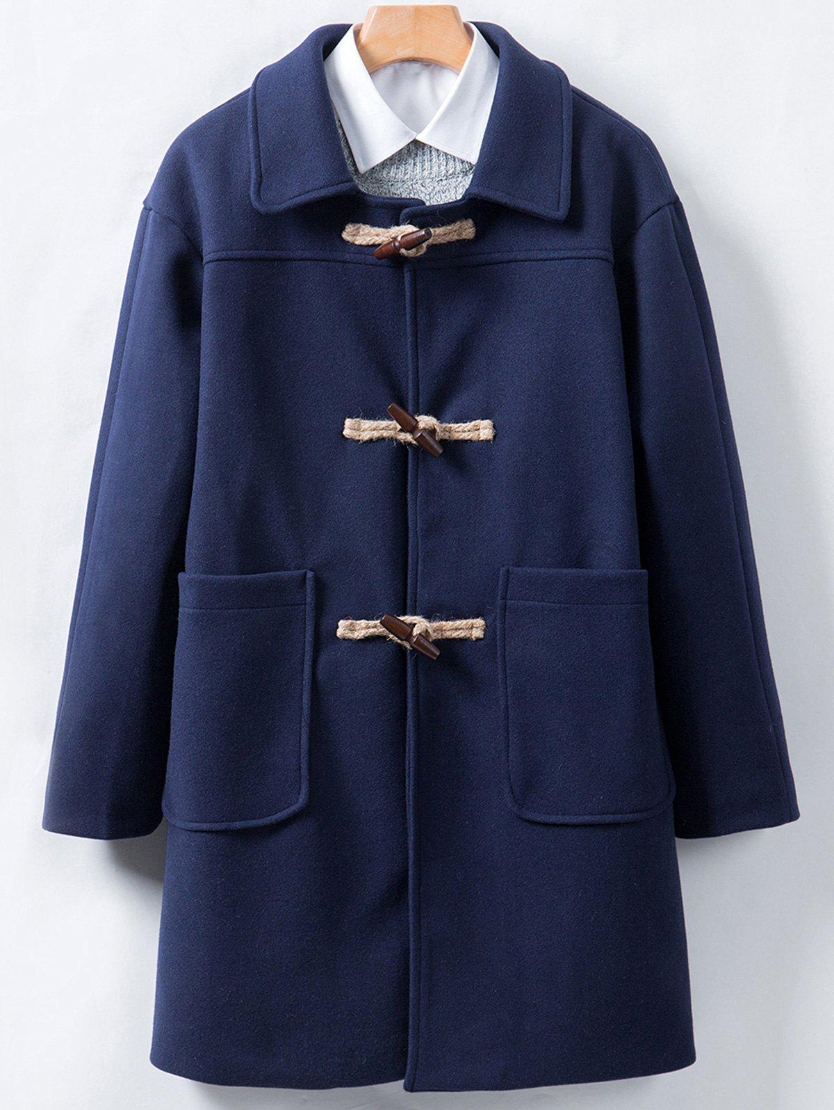 Longline Horn Button Woolen Coat one button design longline woolen coat