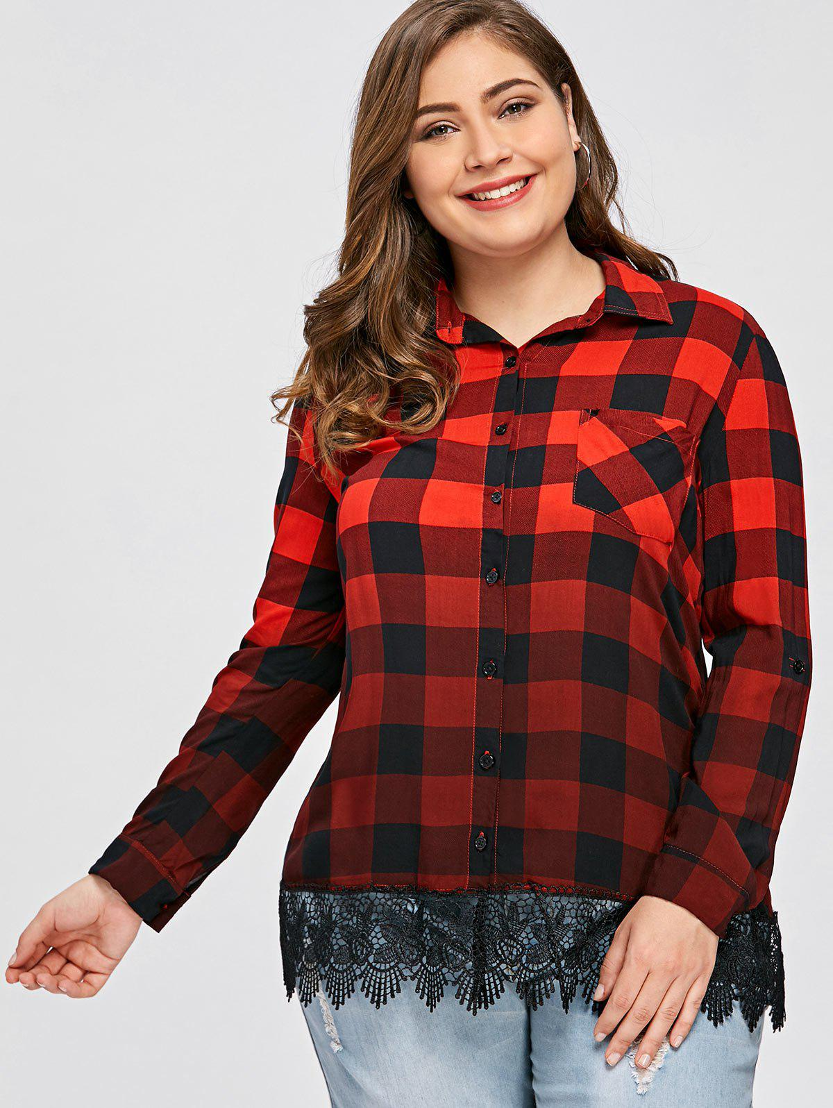 2018 ombre couleur plaid plus size shirt carr xl in chemisiers blouses de grande taille. Black Bedroom Furniture Sets. Home Design Ideas