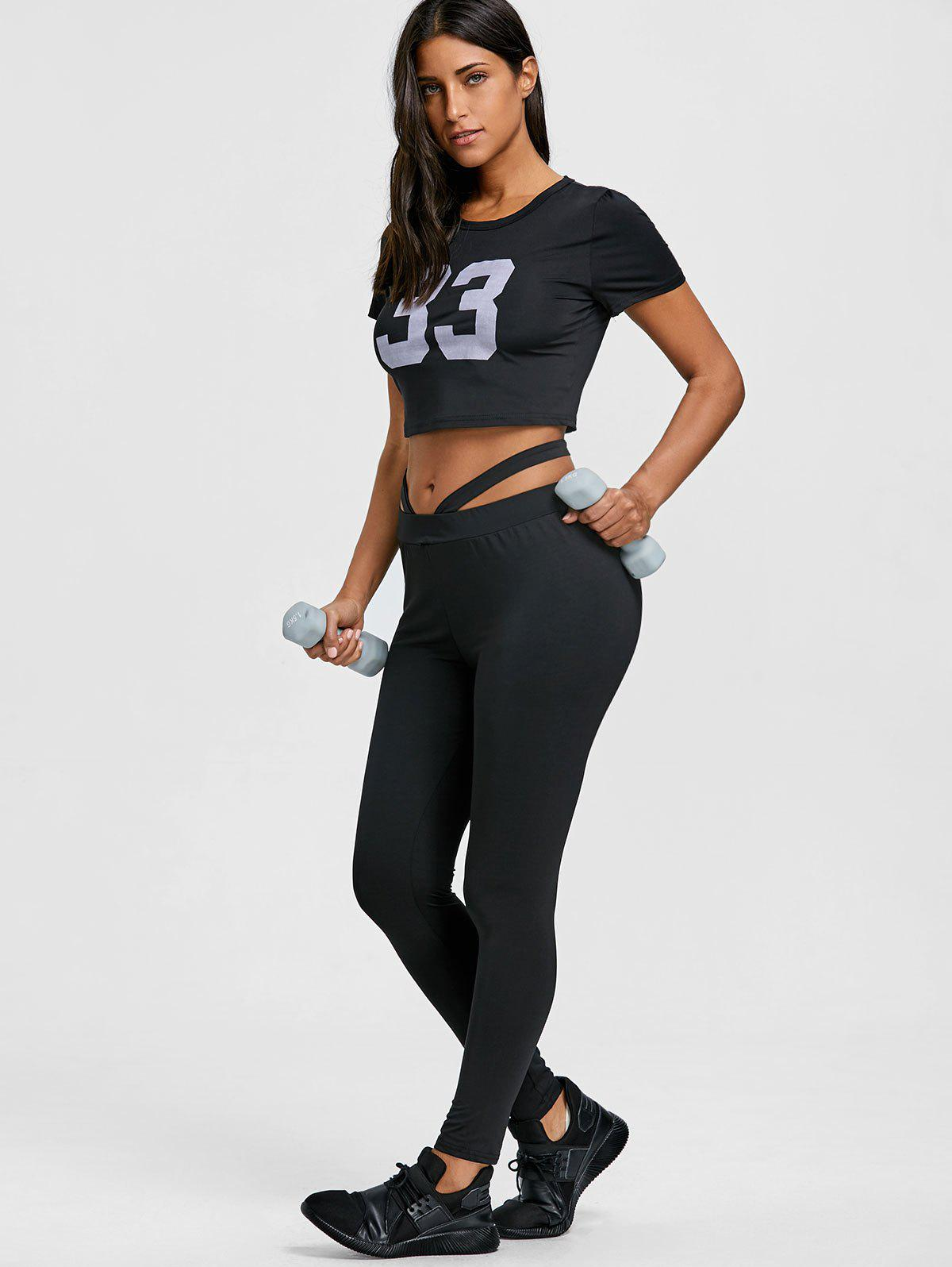 Cropped Letter Print Top and Gym Leggings Set - BLACK M
