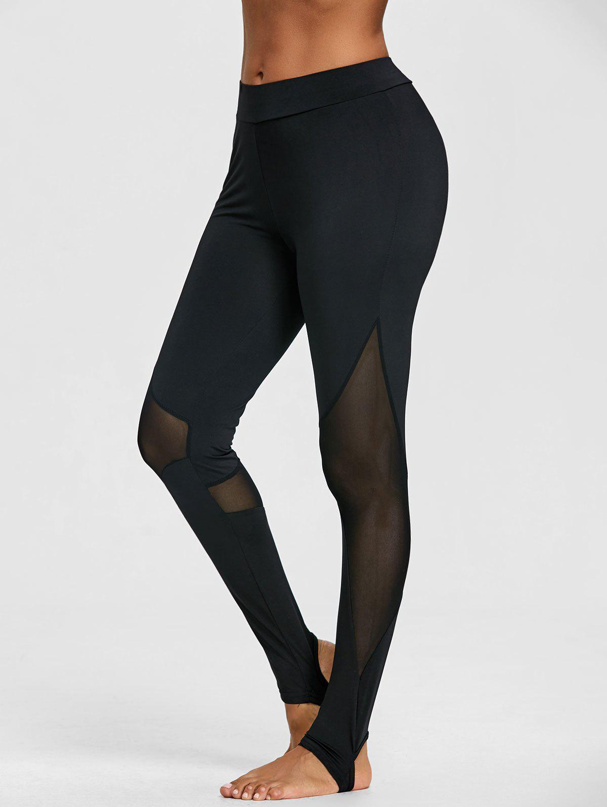 Sheer Mesh Panel Gym Stirrup Leggings - BLACK XL