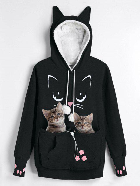 Plus Size Cat Lovers Pouch Pocket Hoodie - BLACK 2XL