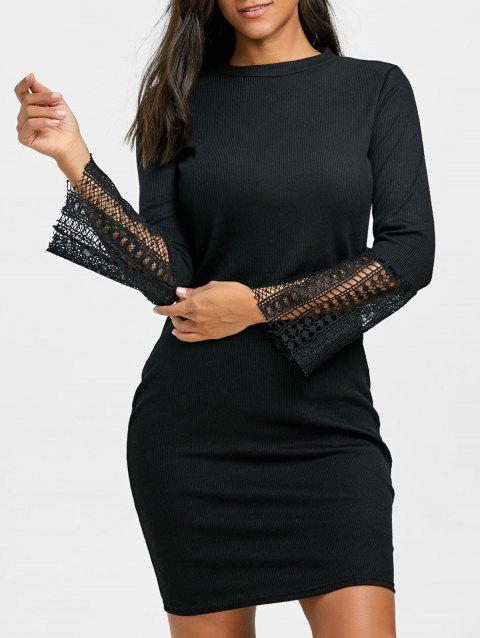 Lace Insert Knitted Bodycon Dress - BLACK XL