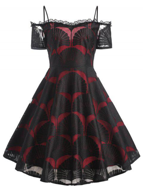 Cami Maple Leaf Lace Overlay Dress - WINE RED S
