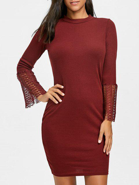 Lace Insert Knitted Bodycon Dress - WINE RED S