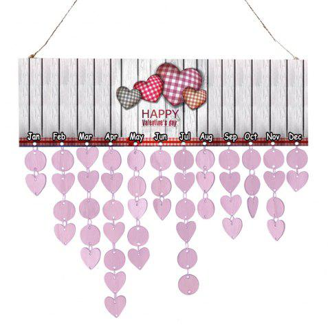 Home Decor Love Printed Wooden Board DIY Hanging Calendar - LIGHT PURPLE
