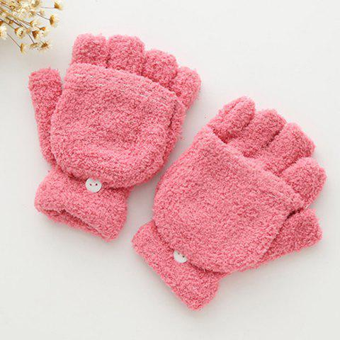 Cashmere Hooded Fingerless Winter Gloves - PINK