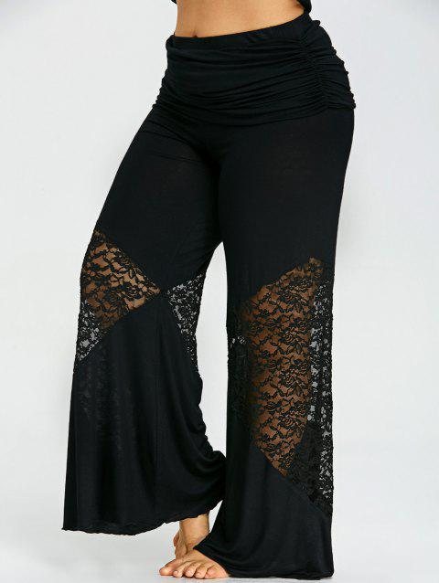 ec35dae4629 LIMITED OFFER  2019 Plus Size Lace Insert Palazzo Pants In BLACK 3XL ...