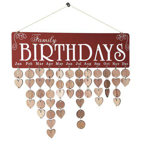 Family Birthday Wood Hanging DIY Calendar Decor - BROWN