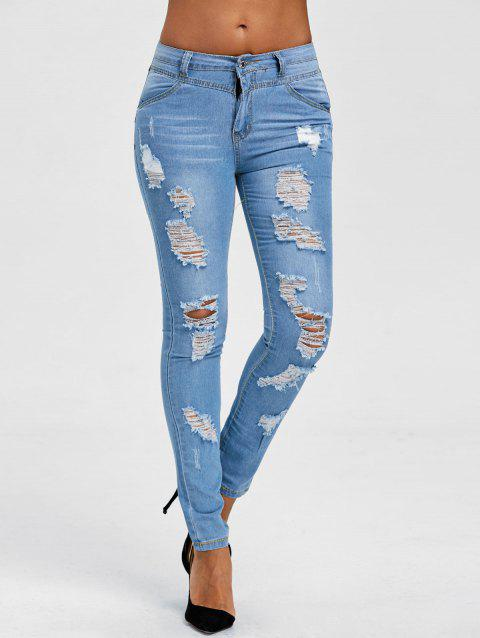 Ripped Skinny Jeans - BLUE M