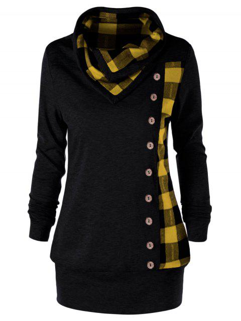 Plus Size Plaid Cowl Neck Tunic Sweatshirt - YELLOW/BLACK XL