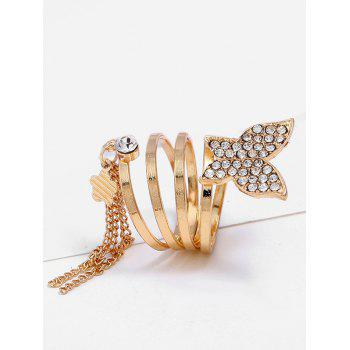 Rhinestone Butterfly Floral Fringed Charm Ring - GOLDEN