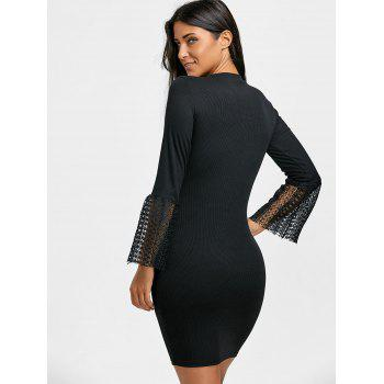 Lace Insert Knitted Bodycon Dress - BLACK M