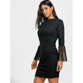 Lace Insert Knitted Bodycon Dress - BLACK BLACK