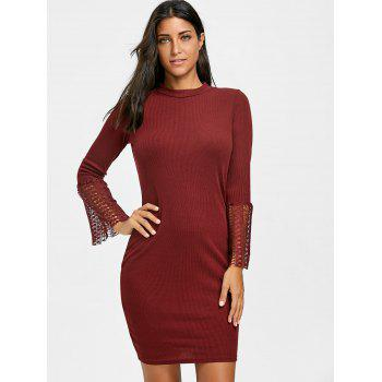 Lace Insert Knitted Bodycon Dress - WINE RED XL