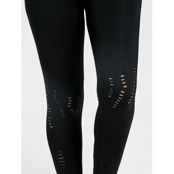 Skinny High Waist Ripped Leggings - BLACK BLACK