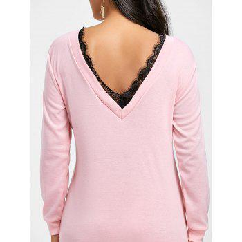 Lace Insert Cut Out Mini Sweatshirt Dress - PINK XL