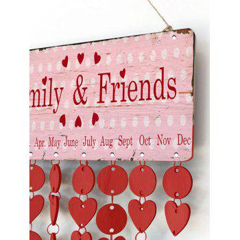 Vintage Wooden DIY Birthday Calendar Reminder Board - RED