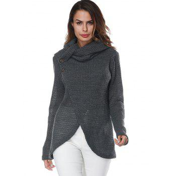 Overlap Turtleneck Sweater - GRAY S