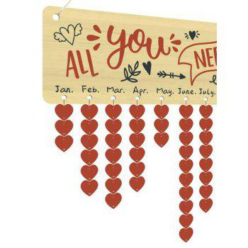 Valentines Day Letter Print Heart Hanging Wooden Calendar Decor - COLORFUL