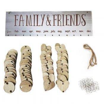 Wooden DIY Family and Friends Birthday Reminder Hanging Plaque Calendar - GRAY