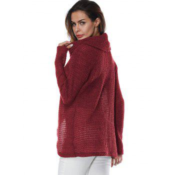 Overlap Turtleneck Sweater - WINE RED L