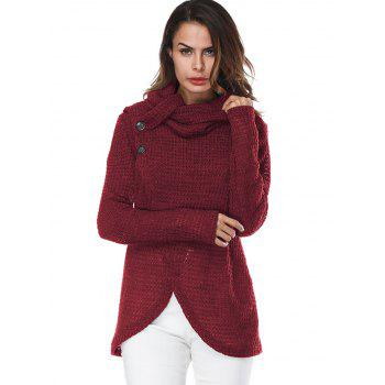 Overlap Turtleneck Sweater - WINE RED S