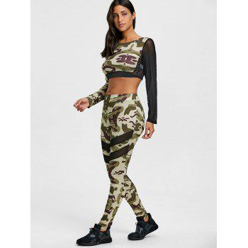 Camouflage Mesh Insert Cropped Top with Leggings - ACU CAMOUFLAGE S