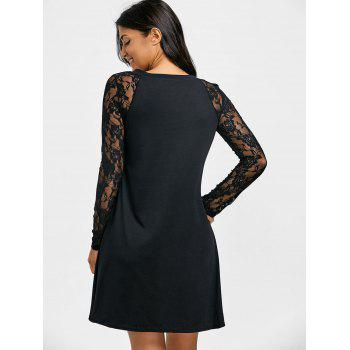 A-line V Neck Lace Raglan Sleeve Dress - BLACK XL