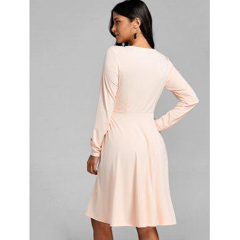 Cut Out Long Sleeve A Line Dress - APRICOT S