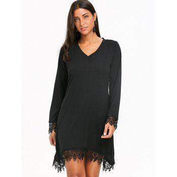 Lace Trim Long Sleeve Mini Crescent Dress - BLACK L