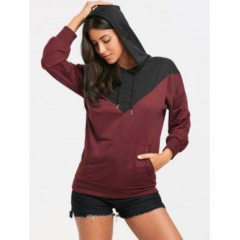 Drop Shoulder Color Block Kangaroo Pocket Hoodie - BLACK/RED M