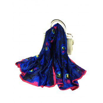 Unique Peacock Feathers Pattern Decorated Sheer Scarf - ROYAL