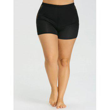 Plus Size Lace Panel Safety Shorts - BLACK 5XL