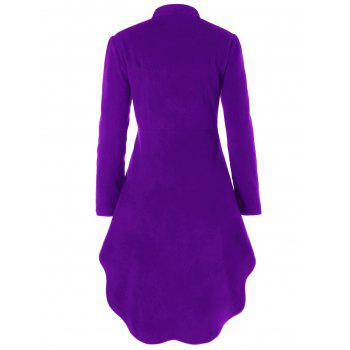 Plus Size Long Sleeve High Low Cut Out Coat - PURPLE XL