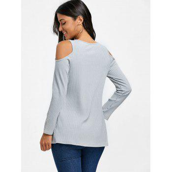 Ribbed Cold Shoulder Tunic T-shirt - GRAY XL