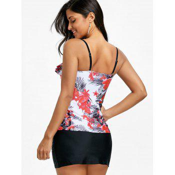 Palm Leaf Floral Printed Top and Skirted Briefs - FLORAL XL