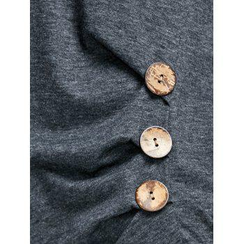 Longline Button Embellished T-shirt - DARK GRAY S