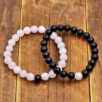 Valentine's Day Elastic Beads Couple Bracelet -  BLACK/PINK