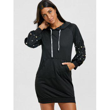 Casual Faux Pearl Embellished Hoodie Dress - BLACK XL