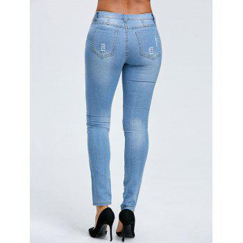 Ripped Skinny Jeans - BLUE BLUE