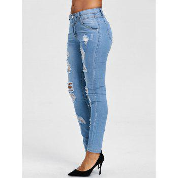 Ripped Skinny Jeans - BLUE XL