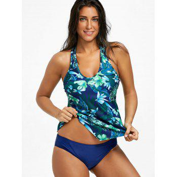 Floral Printed Crochet Lace Panel Asymmetrical Tankini - COLORMIX L