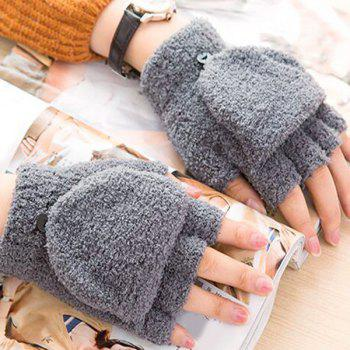 Cashmere Hooded Fingerless Winter Gloves -  GRAY