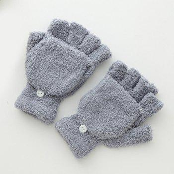 Cashmere Hooded Fingerless Winter Gloves - GRAY GRAY
