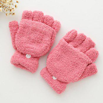 Cashmere Hooded Fingerless Winter Gloves - PINK PINK