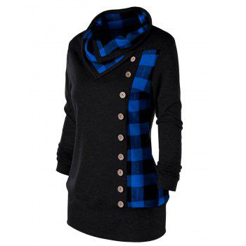 Plus Size Plaid Cowl Neck Tunic Sweatshirt - BLUE/BLACK BLUE/BLACK
