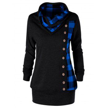 Plus Size Plaid Cowl Neck Tunic Sweatshirt - BLUE AND BLACK BLUE/BLACK