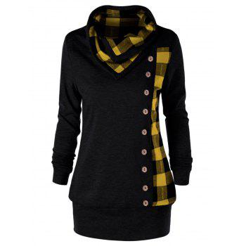 Plus Size Plaid Cowl Neck Tunic Sweatshirt - YELLOW AND BLACK YELLOW/BLACK